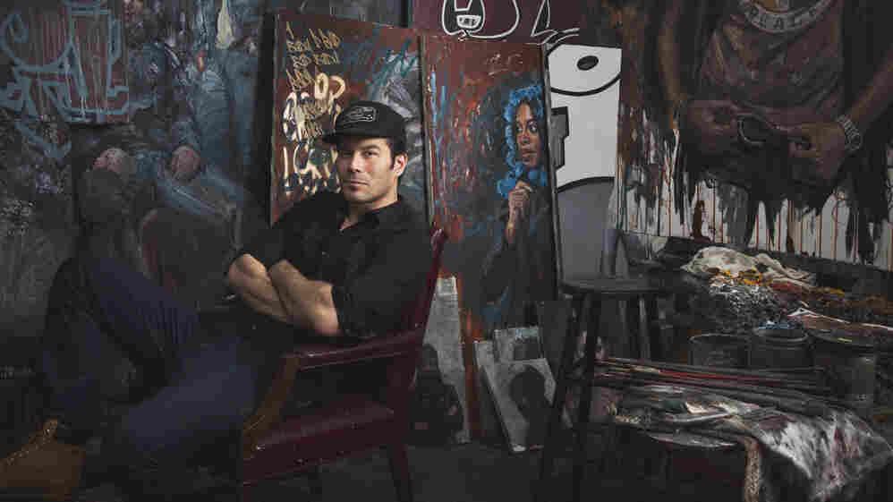 Tim Okamura in his art studio.