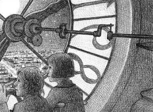 Hugo and Isabelle look out over Paris from behind a clock face in Selznick's The Invention of Hugo Cabret.