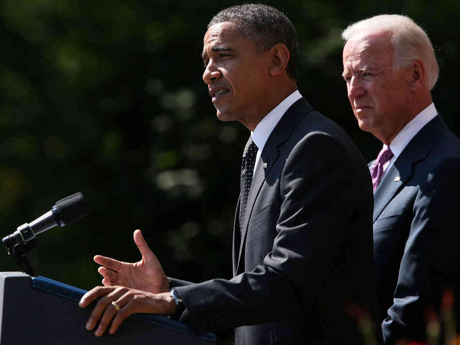 President Obama and Vice President Biden in the Rose Garden of the White House earlier today (Sept. 12, 2011).