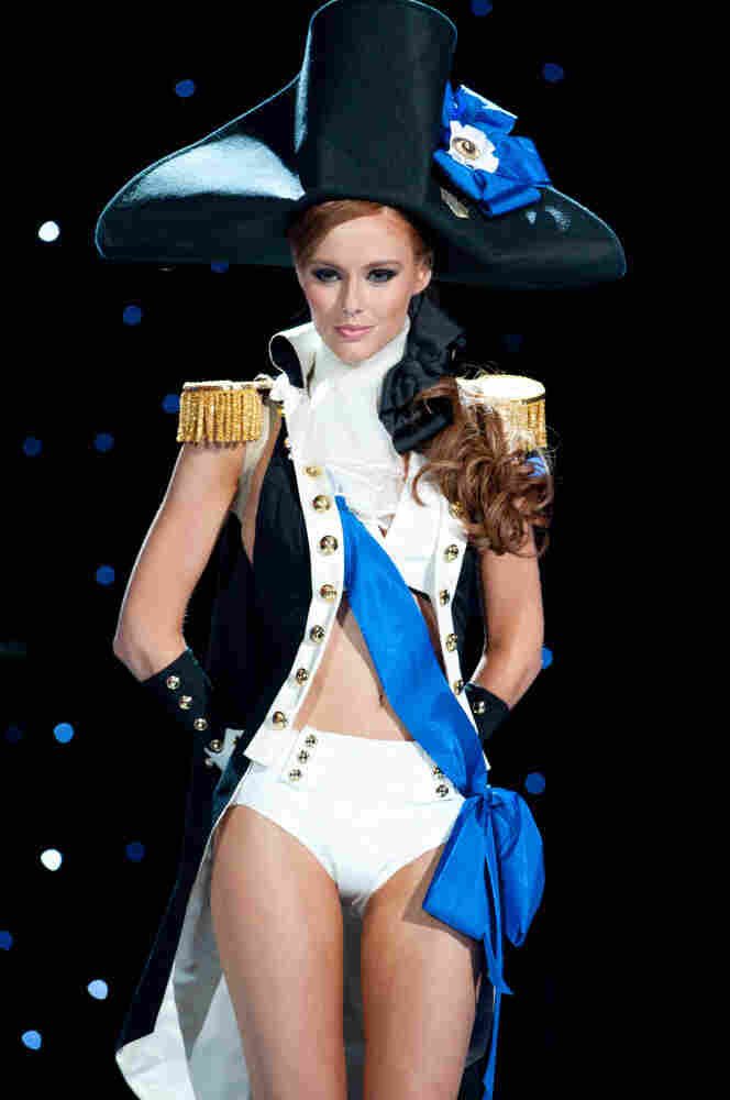 Miss USA, Alyssa Campanella, shows off some additional detail from her national costume.