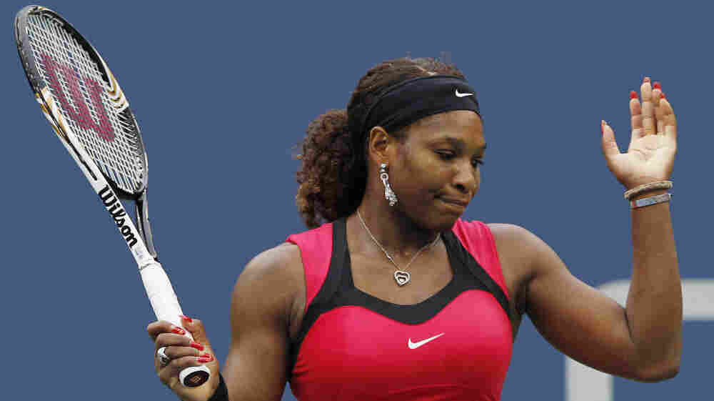 Serena Williams reacts during the women's championship match against Samantha Stosur of Australia at the U.S. Open tennis tournament in New York on Sunday.