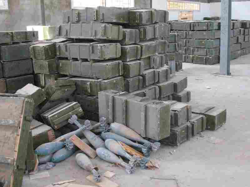Large mortar shells sit unguarded, and boxes that once held anti-aircraft missiles and other heavy  weapons  are strewn about arms depots around Tripoli. Rebels say they've taken some ammunition, but U.S. officials and others express  fears the  weapons could fall into the wrong hands.