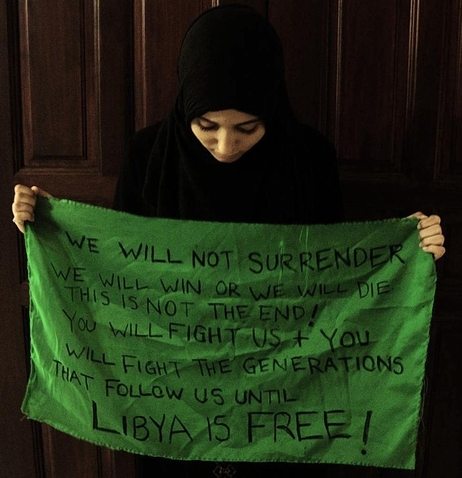 The photograph taken by Zehra Tajouri has become an iconic image of Libyan rebellion.