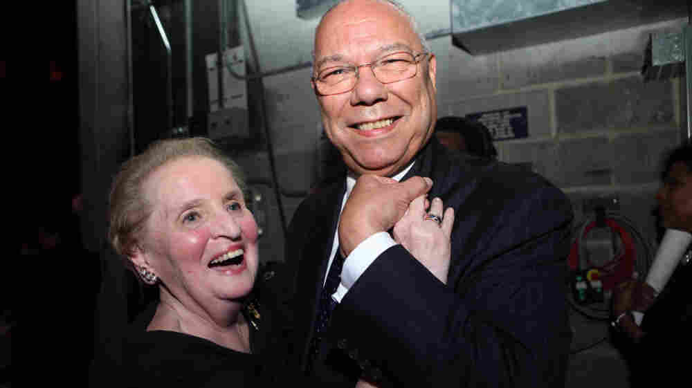 Former Secretaries of State Madeleine Albright and Colin Powell backstage at the Thelonious Monk Institute of Jazz 25th Anniversary Gala.