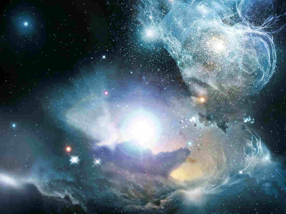 An artist's impression of a quasar located in a primeval galaxy (or protogalaxy) a few hundred million years after the big bang.