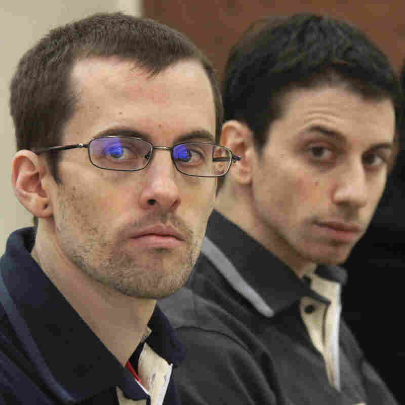 Shane Bauer (left) and Josh Fattal at a February court hearing in Tehran.