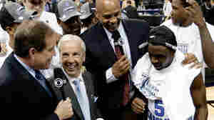 The NCAA lost control of college football contracts in the 1980s, forcing it to rely on fees paid to broadcast its annual basketball tournament. Here, CBS broadcasters Jim Nantz, left, and Clark Kellogg interview North Carolina coach Roy Williams and player Ty Lawson after a 2009 game.