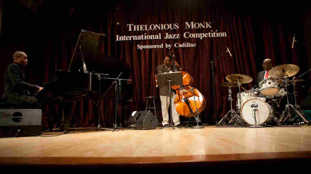 Joshua White (left) performs with Carl Allen (drums) and Rodney Whitaker (bass) at the Monk Competition semi-finals.