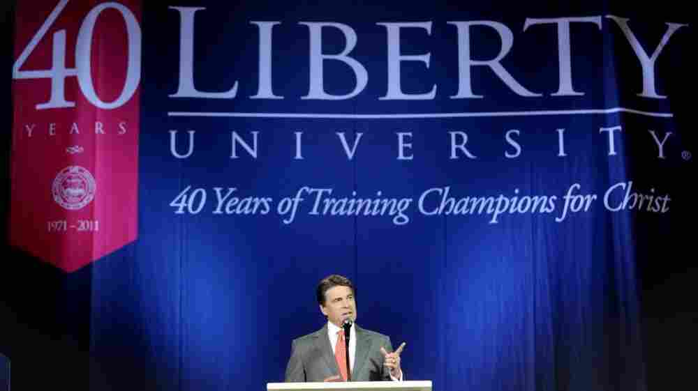 Republican presidential candidate Rick Perry speaks at the Vines Center on the campus of Liberty University in Lynchburg, Va., on Wednesday.
