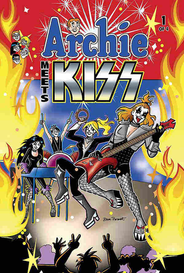 """Cover to Archie Meets Kiss #1: """"Sugar, Sugar"""" has never sounded so ... theatrical."""
