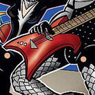 A detail from the cover of a comic book that is gonna rock and roll all nite (sic), by golly.