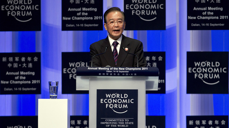 """Chinese Premier Wen Jiabao delivers an opening speech Wednesday at the World Economic Forum's Annual Meeting of the New Champions in Dalian, in northeast China. Wen said developed countries must """"first put their own house in order"""" before they can expect China to help other struggling economies."""