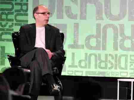 Press critic Jay Rosen speaking at the TechCrunch Disrupt conference in New York City in May.