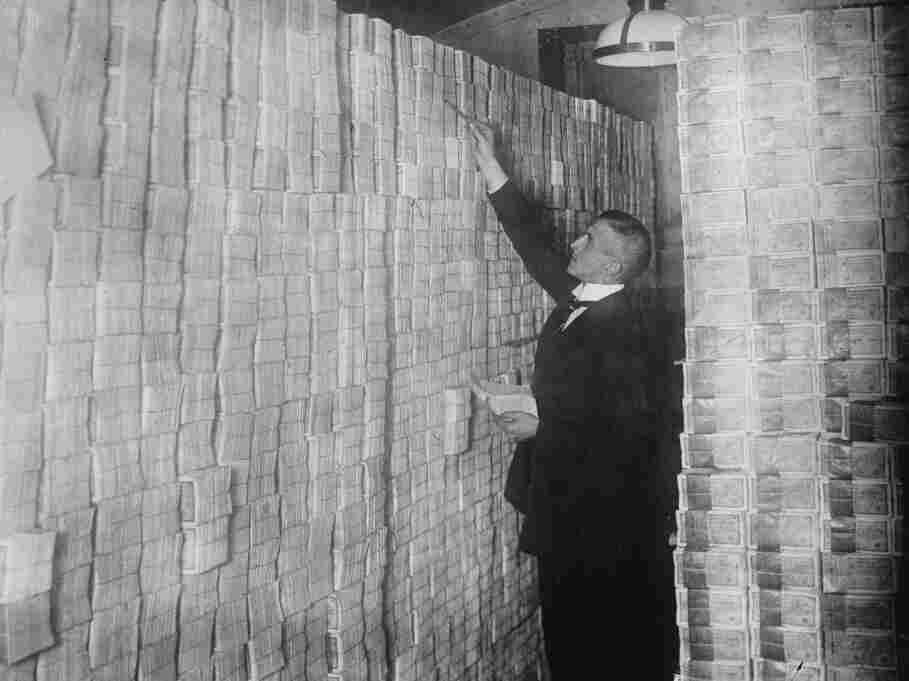 Paper money is stacked in a Berlin Bank in 1922.