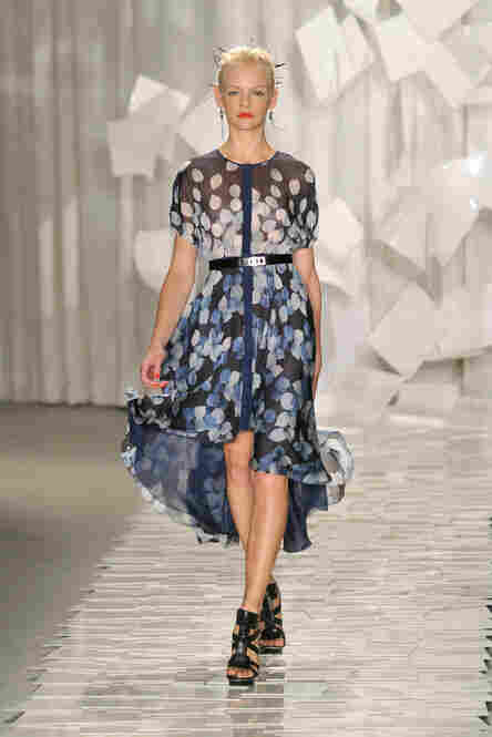 Jason Wu, a favorite of First Lady Michelle Obama, offered his take on the trend of pattern: here, a dress awash in a watercolor of dots.