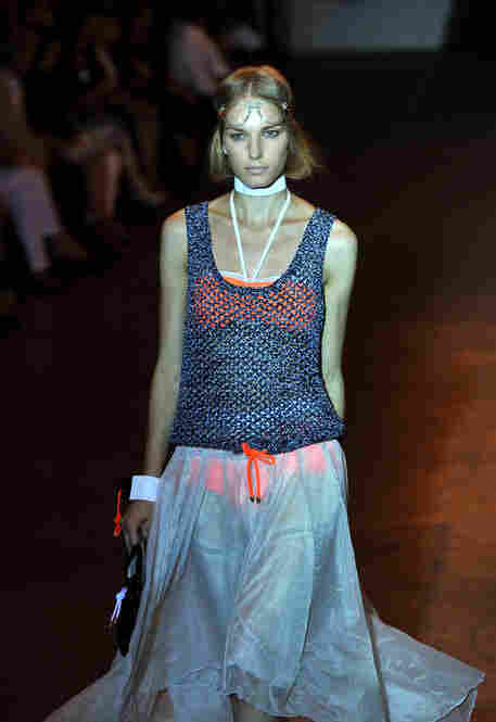 Rag & Bone played with layers, showing a neon bikini under a gauzy skirt and crocheted tank.