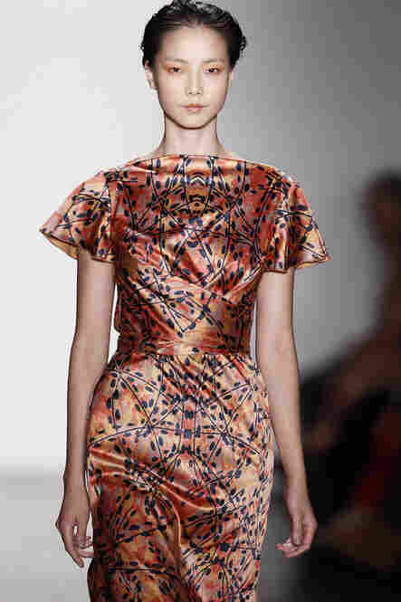 Costello Tagliapietra showed satiny, structured dresses in earthy colors and prints.