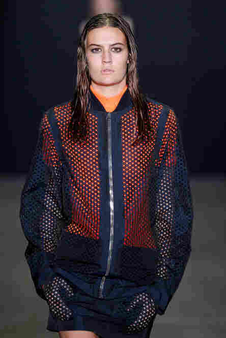 Alexander Wang made a statement with laser-cut mesh pockets and layers of bold color.