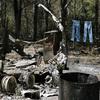 Jeans hang on a clothesline next to a burned down trailer home in Bastrop, Texas. A wildfire raging for nearly two weeks has blackened 50 square miles and destroyed more than 1,500 homes.