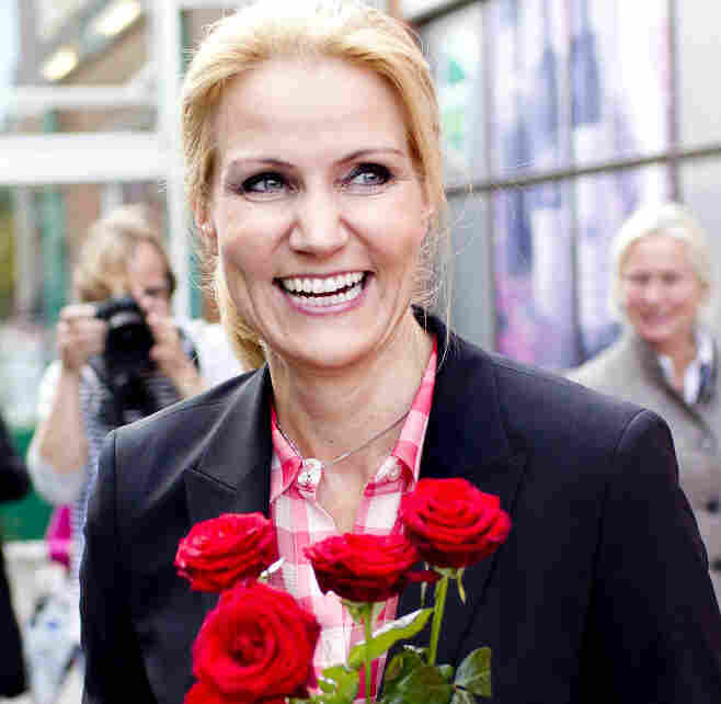In this photo taken on September 9, 2011, Social Democrats leader Helle Thorning-Schmidt holds roses during an election campaign in Copenhagen.