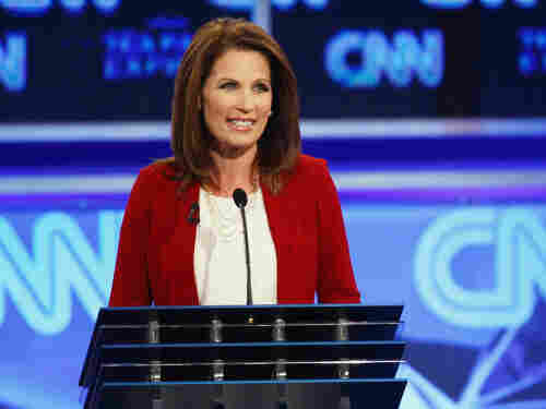 Republican presidential candidate Rep. Michele Bachmann at the presidential debate sponsored by CNN and the Tea Party Express in Tampa, Fla., Monday.