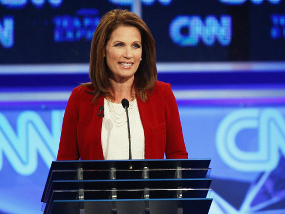 Republican presidential candidate Rep. Michele Bachmann at the presidential debate sponsored by CNN and the Tea Party Express in Tampa, Fla., Monday. (Win McNamee/Getty Images)