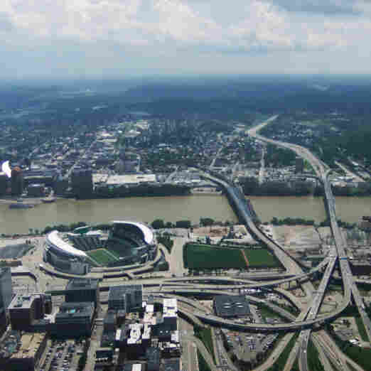 The Brent Spence Bridge (the span on the far right) is one of 1,863 highway bridges determined to be functionally obsolete by the Ohio Department of Transportation.
