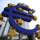 A giant logo of the euro can be seen outside the headquarters of the European Central Bank in Frankfurt, Germany.