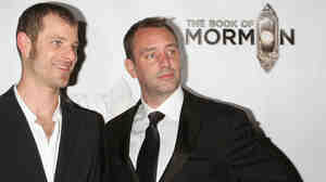 Matt Stone (left) and Trey Parker at the after party for the opening night of The Book of Mormon on Broadway in March.