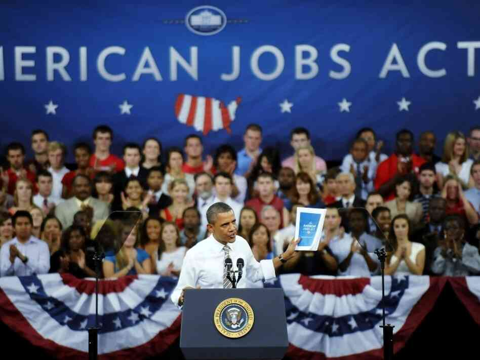 President Barack Obama speaks about his proposed American Jobs Act on Sept.14, 2011 in  Raleigh, North Carolina. Obama is stumping for his $450 billion jobs  proposal in the wake of the Democrats losing a U.S. seat to Republicans  in a special election in New York.