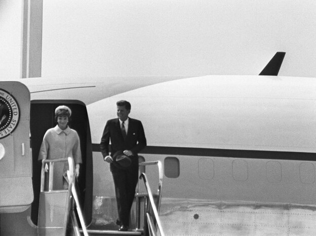President John F. Kennedy and wife  Jacqueline Onassis Kennedy disembark from Air Force One in Paris on May  31st, 1961. Audio tapes of Jacqueline Kennedy's candid accounts of  her experiences as first lady