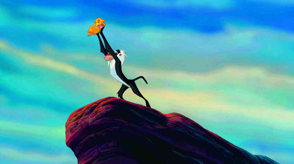 Simba is presented by Rafiki in Disney's The Lion King.