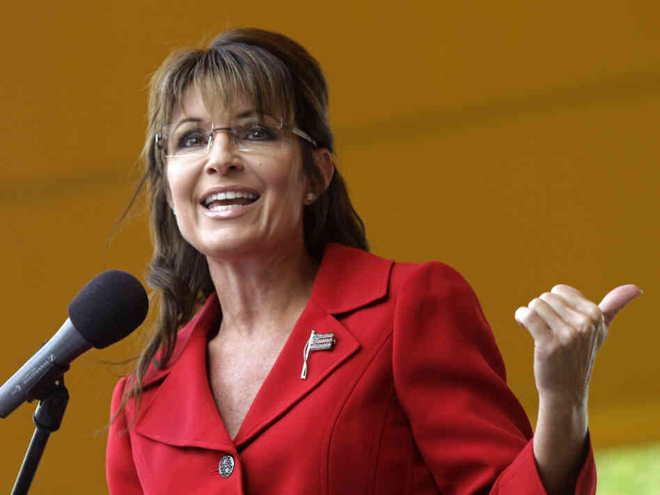 Former vice presidential candidate and Alaska Gov. Sarah Palin addresses a Tea Partly Express Rally in Manchester, N.H., on Sept. 5.