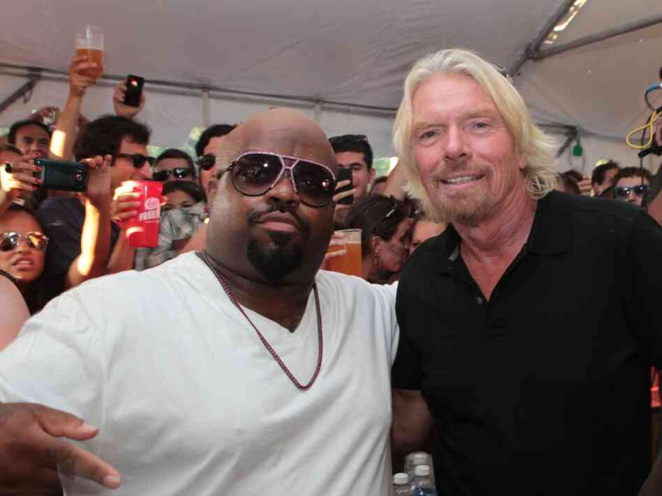 Richard Branson with Cee Lo Green at the Virgin Mobile Freefest.
