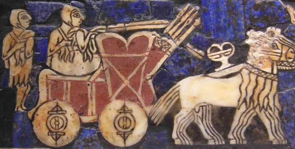 "Detail of the ""Standard of Ur"" mural dating back to circa 2500 B.C."
