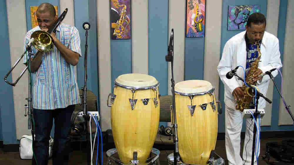 Glen David Andrews (left) and Donald Harrison stopped by the KPLU Seattle studios for an interview and performance.