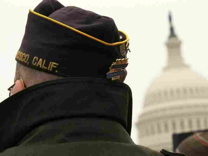 """A veteran takes part in a rally against """"don't ask, don't tell,"""" in Washington, D.C., in 2010."""