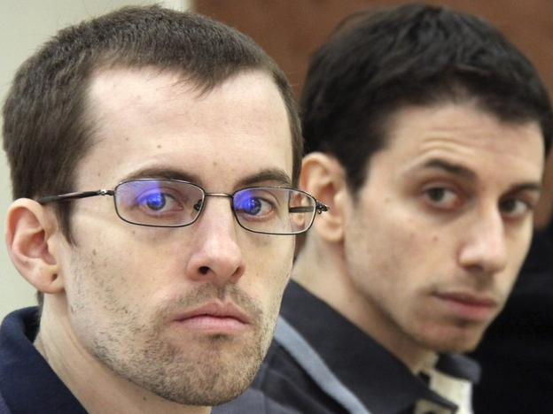 A photo released by Iran's state-run Press TV on Feb. 6, 2011, shows U.S. hikers Shane Bauer (left) and Josh Fattal at court in Tehran.