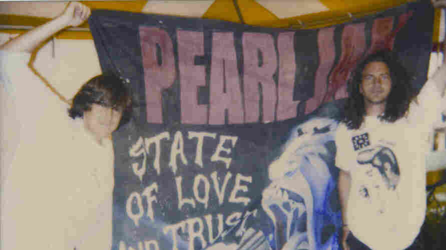 """Cameron Crowe (left) and Eddie Vedder in Italy in 1993. Vedder, Jeff Ament and Stone Gossard all appeared in Crowe's 1992 film Singles, set in Seattle's music scene. Pearl Jam contributed two songs, """"Breath"""" and """"State of Love and Trust,"""" to the film's soundtrack."""