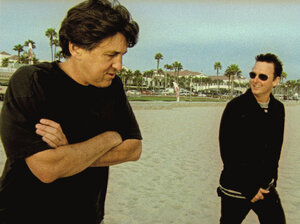 Filmmaker Cameron Crowe and Pearl Jam guitarist Mike McCready during the making of Pearl Jam Twenty.
