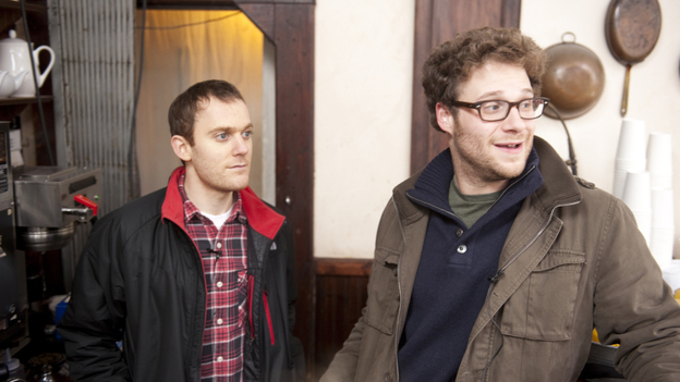 Writer Will Reiser, left, and actor Seth Rogen are the real-life friends behind 50/50, a comedy about cancer that grew out of the jokes that got the two through Reiser's own diagnosis and treatment. (Summit Entertainment)
