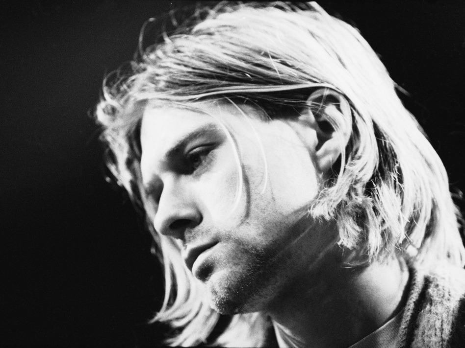 Kurt Cobain performs on MTV's <em>Unplugged</em> in 1993.