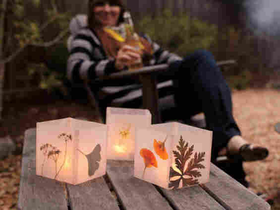 Weekend Handmade includes instructions for candle holders decorated with pressed flowers.