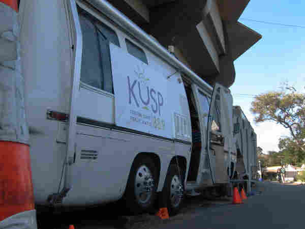 "The KUSP mobile broadcasting unit, aka ""The Sturgeon."""