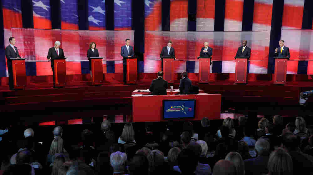 Republican presidential candidates debate in California on Sept. 7. NBC's Brian Williams says a moderator's persistence can reveal which questions candidates want to avoid.