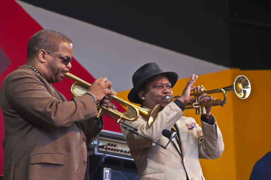Terence Blanchard (left) and Kermit Ruffins perform in the An Afternoon In Treme revue at the 2011 Monterey Jazz Festival.