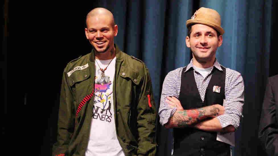 Calle 13 react at the announcement of nominations for the 12th Annual Latin Grammy Awards in Hollywood last week. The group received a record 10 nominations including album of the year and record of the year.