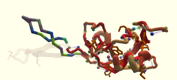 A screenshot from the Foldit puzzle for an enzyme found in HIV-like viruses.