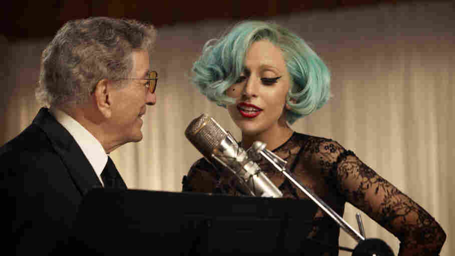 "Tony Bennett and Lady Gaga perform ""The Lady Is a Tramp"" together on Bennett's new album, Duets II, out Sept. 20."