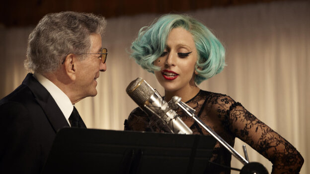 """Tony Bennett and Lady Gaga perform """"The Lady Is a Tramp"""" together on Bennett's new album, Duets II, out Sept. 20."""